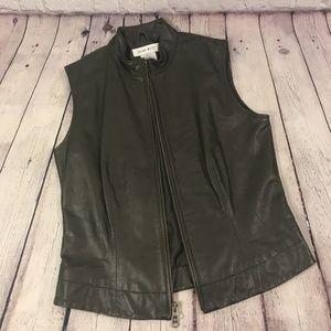Nine West Women's Leather Vest Double Zip Size S